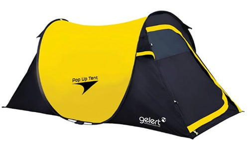 The Gelert 2 man Pop-up Tent in black and yellow