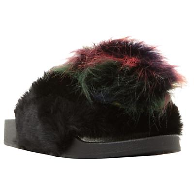 Steve Madden Spiral Faux Fur Slider Sandals, Black